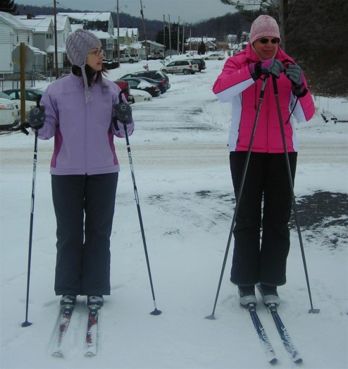 Cross-country skiing with my friend, Betty