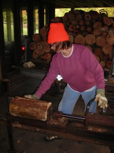 Proof that I CAN run a log-splitter (do you like the hat?)