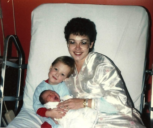 At the hospital, 12-9-85 -- Amanda and Brent