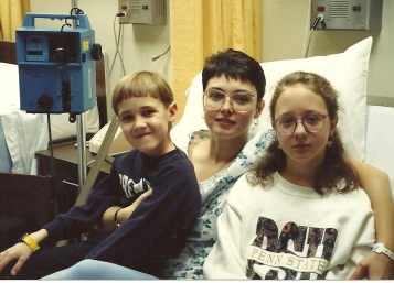 The kids visiting me in the hospital